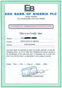 Certification Letter Of Ownership 30 Phony Documents Used In Nigerian 4 1 9 Frauds And Car Buying Scams