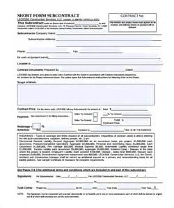 contract template pdf subcontractor contract template 10 documents