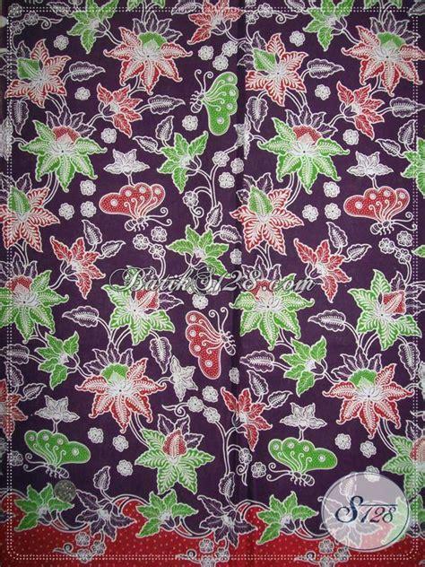 Kain Batik Tiga Bunga kain batik motif bunga dan kupu kain batik murah warna ungu batik trendy dan modern k903p