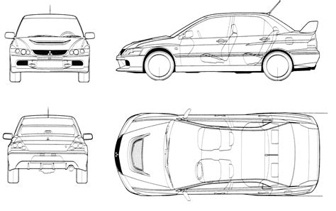 mitsubishi evo drawing car blueprints mitsubishi lancer evo ix blueprints