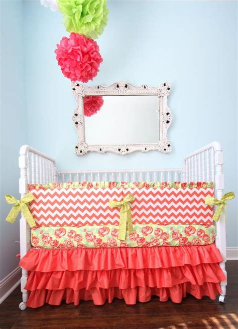 Designer Coral Chevron Crib Set Chevron Crib Bedding Coral Chevron Crib Bedding