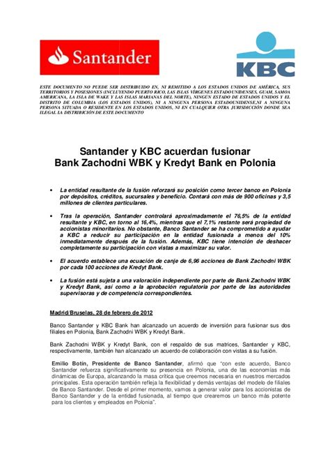 banco kbc santander and kbc agree to merge bank zachodni wbk and