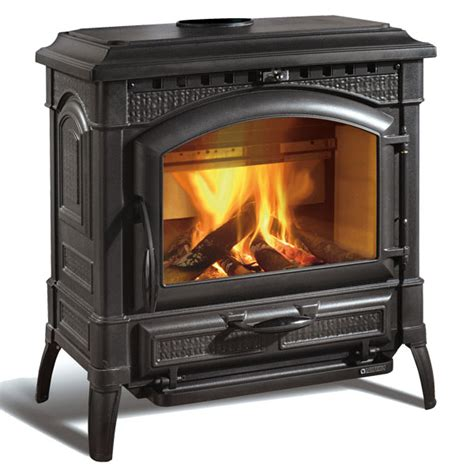 la nordica thermo suprema enamelled wood burning stoves glowing embers