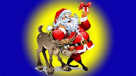 christmas santa claus reindeer desktop hd wallpaper  mobile phones tablet  pc