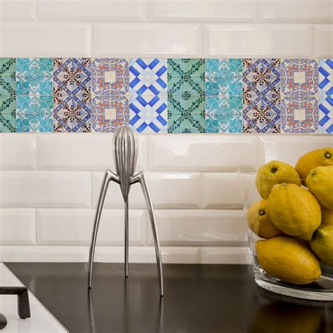 Kitchen Backsplash Decals Portuguese Tiles Stickers Maceira Pack Of 16 Tiles Tile Decals For Walls Kitchen