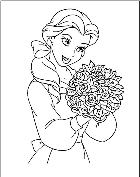Beauty And The Beast Coloring Black And White Disney Princess Picture Printable