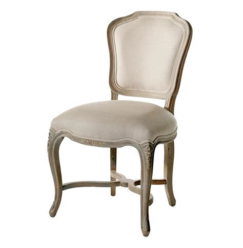 Simone french provincial carved oak linen dining chair set of 2