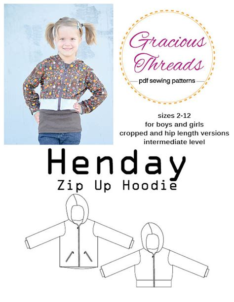 pattern zip up hoodie henday zip up hoodie pdf sewing pattern by sewgraciousthreads