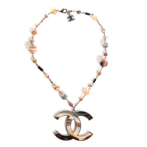 chanel beaded necklace chanel agate beaded oversized cc necklace 85559