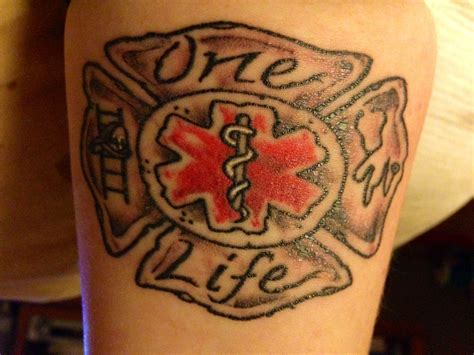 fire ems tattoo ems done by jt emt firefighter