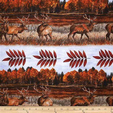 elk pattern fabric elk gathering by the lake stripe red discount designer