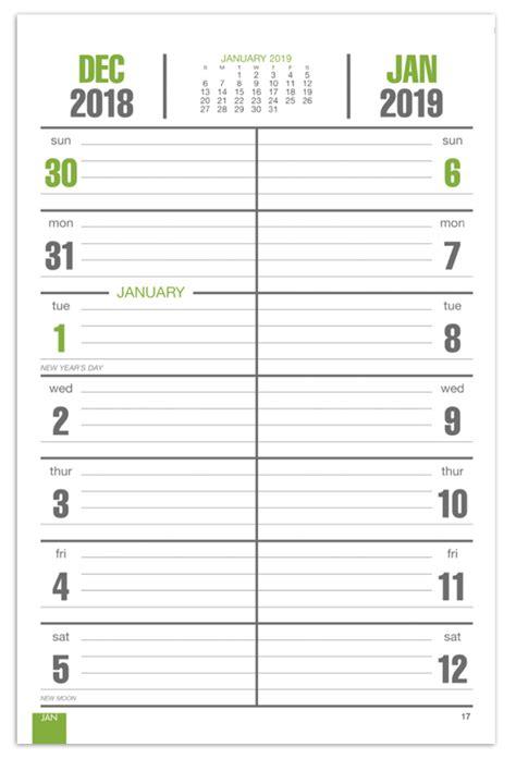 2019 bi weekly memo board image calendar 7 quot x 13