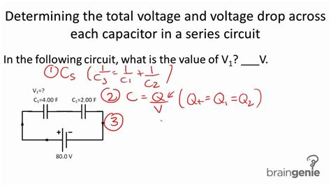 capacitor in series voltage calculator physics 6 3 2 3 determining total voltage and voltage drop across capacitor in a series circuit