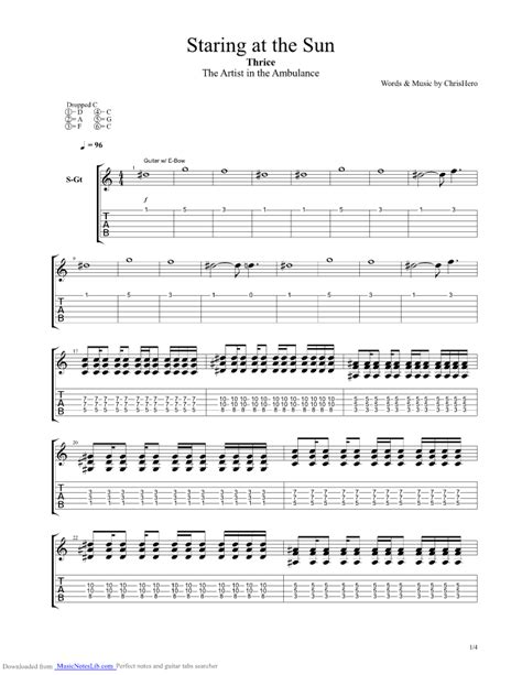 thrice deadbolt tab staring at the sun guitar pro tab by thrice