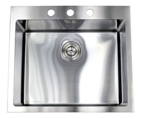 25 Inch Top Mount Drop In Stainless Steel Single Bowl