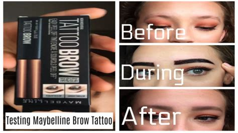 tattoo brow maybelline youtube testing maybelline brow tattoo 3 day tint youtube