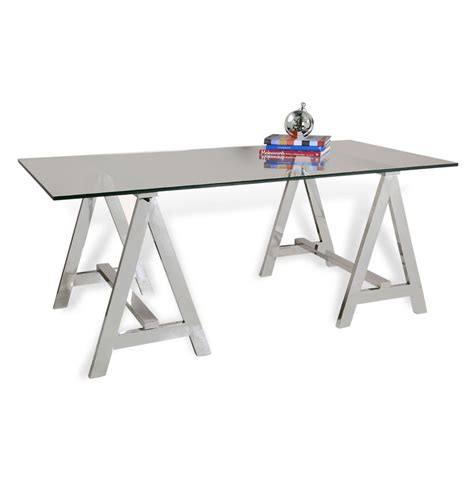 Glass Sawhorse Desk valeria contemporary glass and steel sawhorse desk kathy