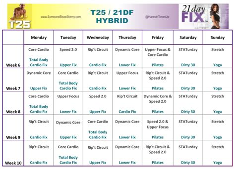 Calendrier T 25 Focus T25 And 21 Day Fix Hybrid Robinson
