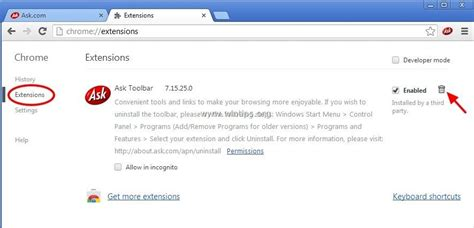 uninstall ask toolbar windows 7 remove ask toolbar from your browser wintips org