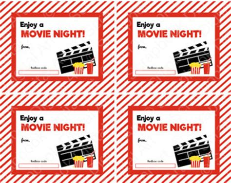 Printable Movie Gift Cards - redbox etsy