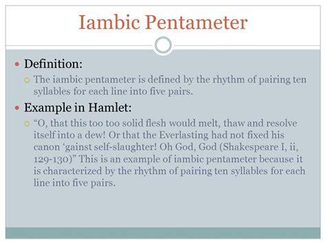 exle of iambic pentameter literary terms by hertel ppt