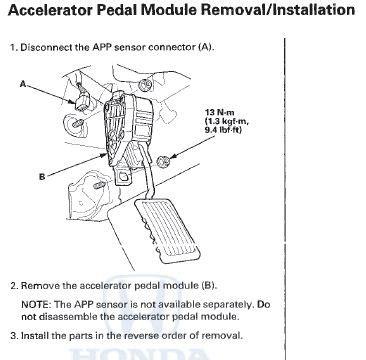 electronic throttle control 2010 honda accord parking system p2128 2010 honda accord accelerator pedal position sensor b throttle position sensor d