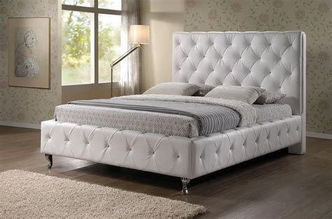 stella crystal tufted white modern bed with upholstered headboard stella crystal tufted white modern bed with upholstered