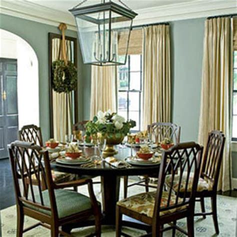 Southern Dining Rooms pale steel gray walls in the dining room with floor to