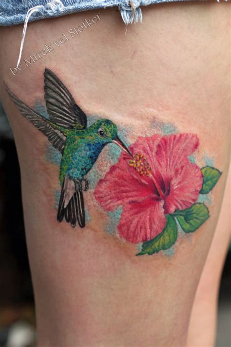 hummingbird with hibiscus flower tattoo by stotker on