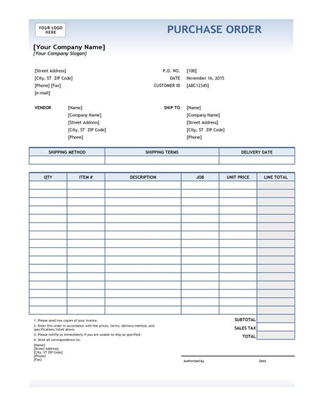purchase order templates word excel google docs