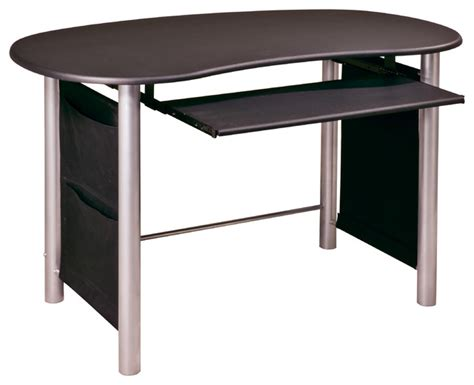 Black And Silver Computer Desk Osp Designs Saturn Multi Media Black With Silver Accents Computer Desk Contemporary Desks