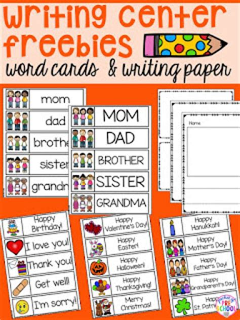 writing template for cards kindergarten writing center freebie family word cards event word