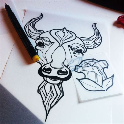 taurus rose tattoo taurus skull new school sketch own
