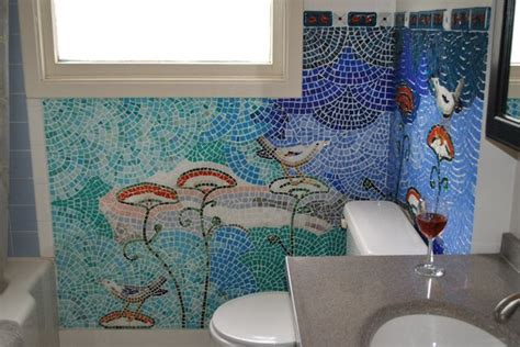 Rv Bathroom Remodeling Ideas mosaic bathroom birds amp flowers eclectic bathroom