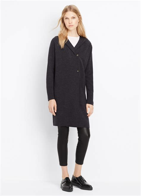 Cardigan Coat Elizha Black vince faced hooded sweater coat in black lyst