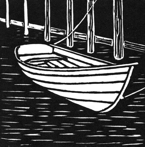 boat drawing prints wooden boat linocut drawing by ed einboden