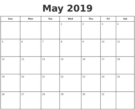 printable calendar for 2019 may 2019 print a calendar