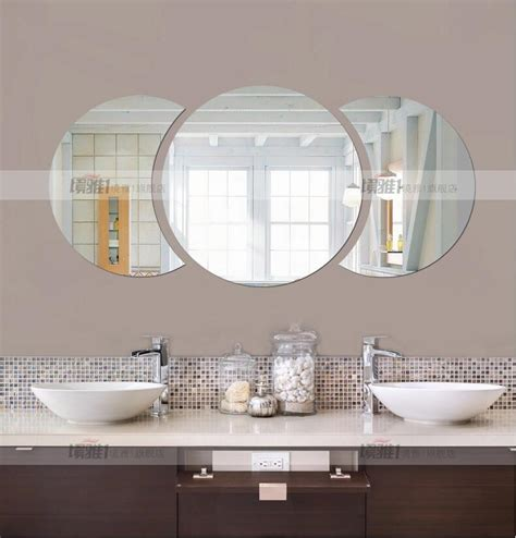 acrylic bathroom mirror three dimensional crystal wall stickers acrylic round