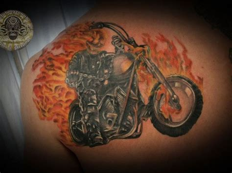 ghost rider tattoo ghost rider in flames on back tattooimages biz