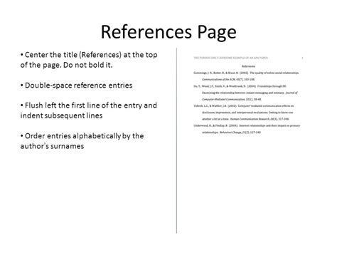 how to create and apa style reference page ppt