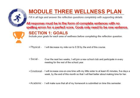 Module 3 Wellness Plan Sample Health And Wellness Plan Template