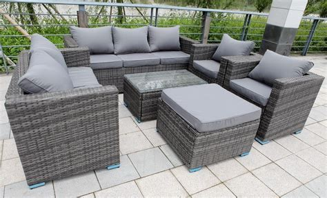 grey rattan garden furniture set sofa chairs conservatory