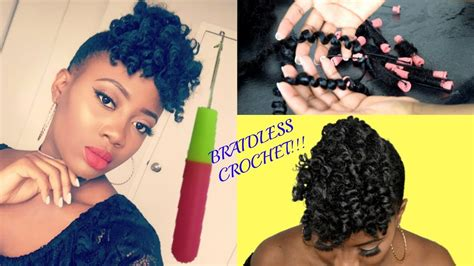 how to do a braidless braid with the topsy tail braidless crochet braids front afro puff natural