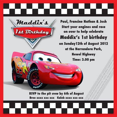 birthday invitation card template cars lightning mcqueen invitation templates