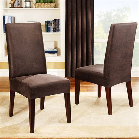 Dining Room Chair Covers Sure Fit Stretch Leather Dining Room Chair Cover Brown Walmart