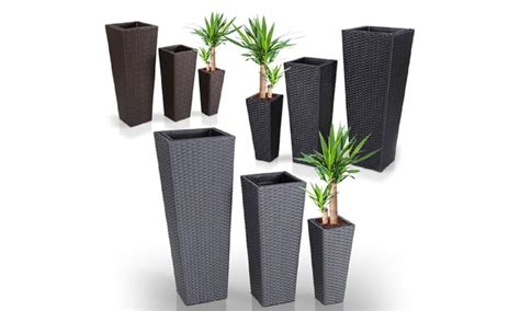 vasi in rattan sintetico set da 3 vasi da fiori in rattan groupon