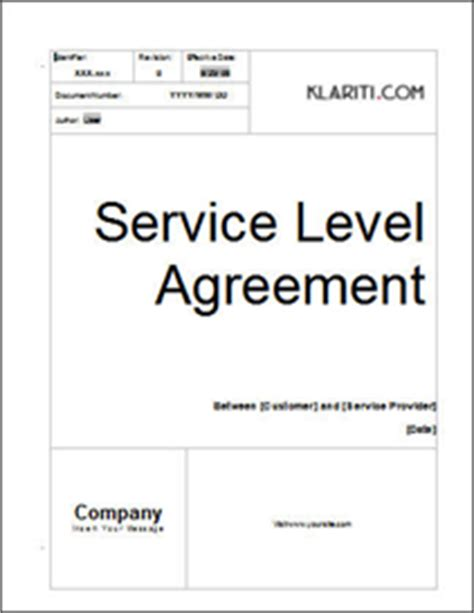 service level agreement template for it support klariti