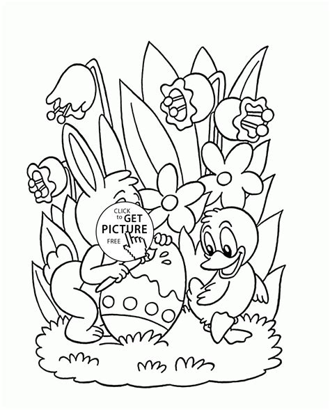 Little Bunny And Duck Painting Easter Egg Coloring Page For Kids Easter Coloring Pages Painting Pages To Print