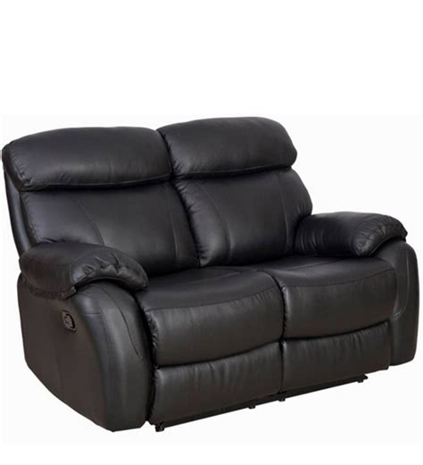 Recliners India by Two Seater Leather Recliner Sofa In Black Colour By