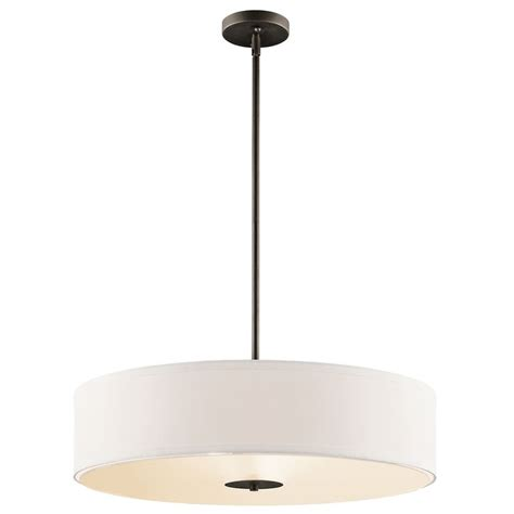 Kichler Drum Pendant Light With White Shade In Olde Bronze Drum Pendant Light Shades